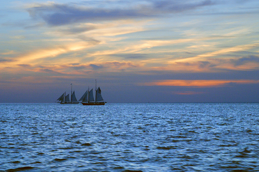 Sailing yacht. Sunset
