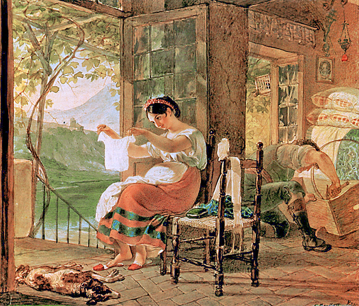 Italian Woman Heavy with a Child Examining a Shirt and Her Husband Making a Cradle by Karl Briullov