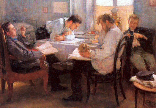 The Night Before the Examination by Leonid Pasternak