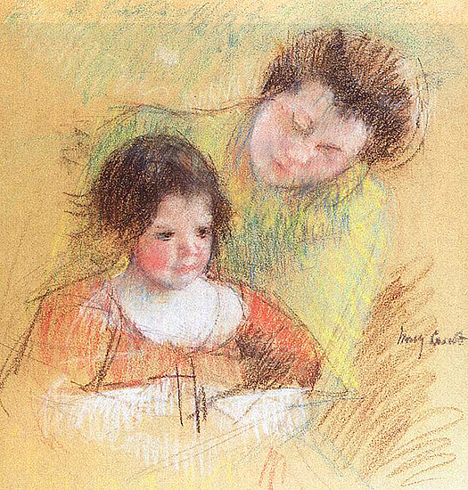 Reine Leaning over Margot's Shoulder by Mary Cassatt