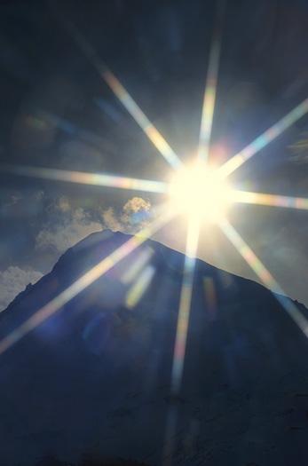 Sunlight Behind Mt. Hood