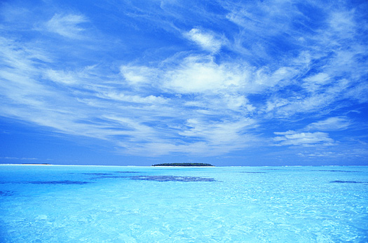 Blue expanse of sky and sea