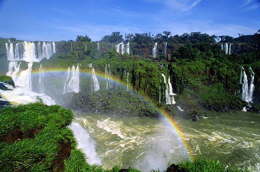 Waterfall with a rainbow