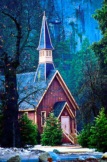 Clapboard church in the woods