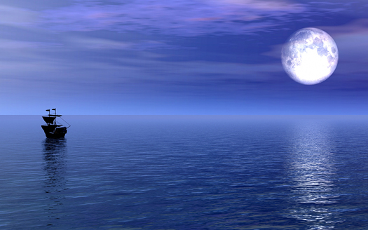 sailing ship on the sea with a full moon
