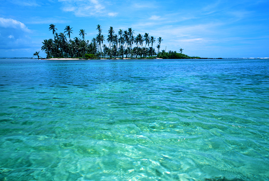 tropical palm island. Panama. San Blas Islands