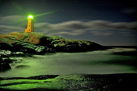Peggy's Cove Lighthouse in the wee hours of the morning
