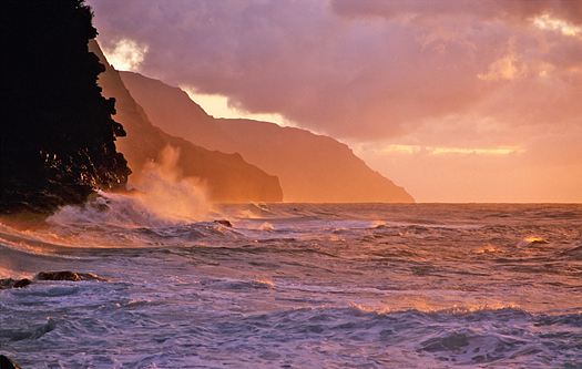 Napali coastline at sunset