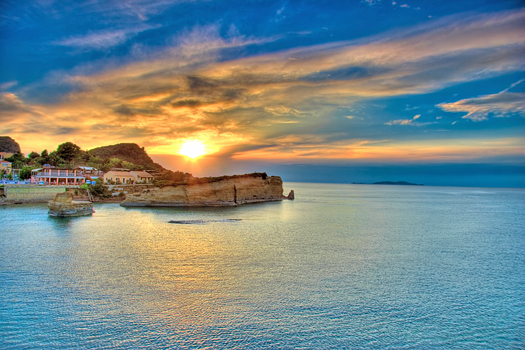 Sunset over Corfu island, Greece