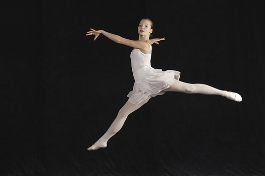 Young ballerina in flight