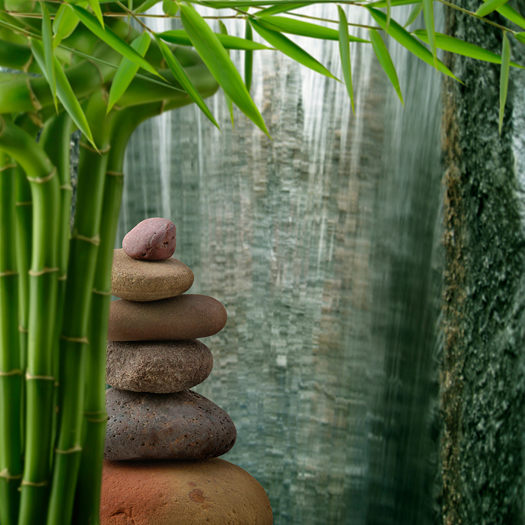 Balanced Stones with Bamboo and Waterfall