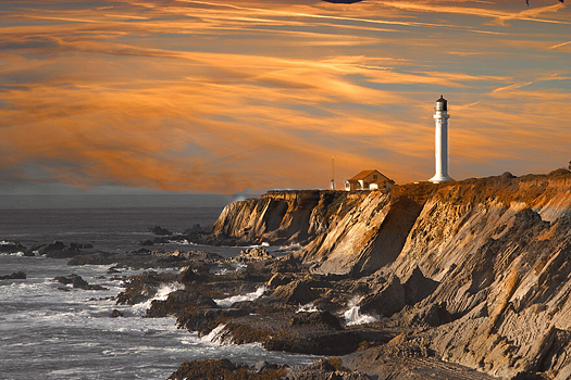 Point Arena Lighthouse at sunset