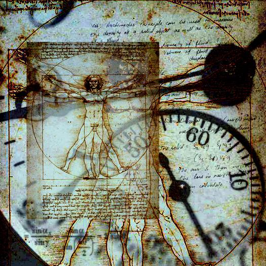 Da Vinci's Vitruvian Man in composite with an old clock