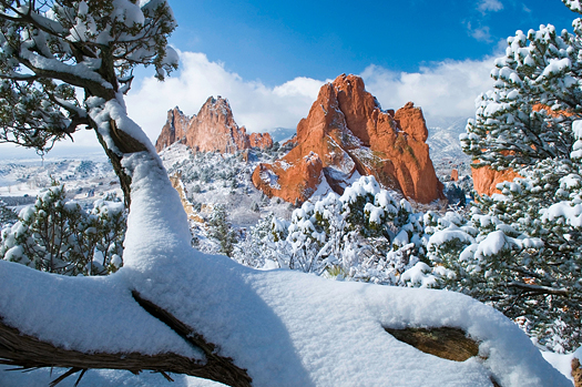South Gateway Rock Formations at the Garden of the Gods Park in Colorado Springs, Colorado after a fresh snowfall
