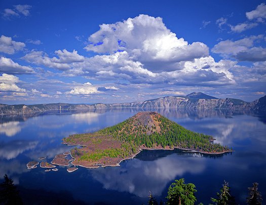 Wizard Island in Crater Lake National Park, located in Oregon.