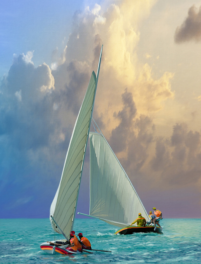 Canvas painting of small craft sailing in open sea, full of atmosphere