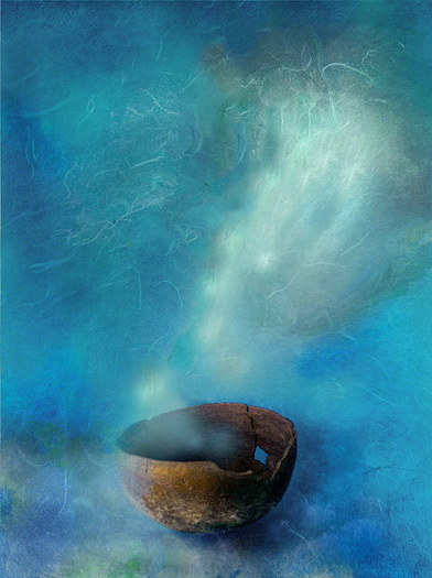 Brown shaman's bowl - blue mist, Photo based mix media image.