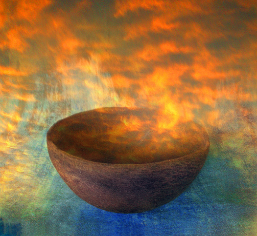 Brown sunrise bowl - red-gold smoke and mist. Photo based mix media image.