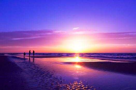 People on a beautiful night on the beach