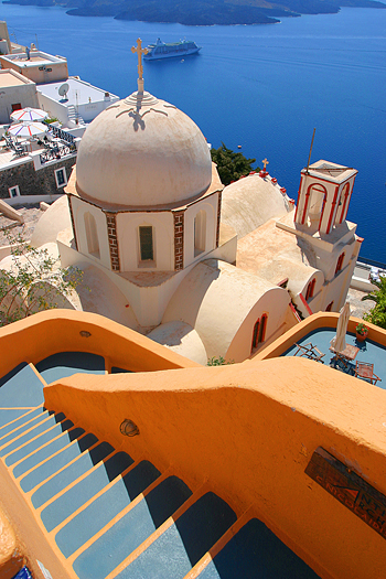Church cupola from Santorini