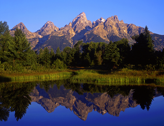 The Teton Range reflecting in the Snake River, at Schwabachers Landing, in Grand Teton National Park, Wyoming.