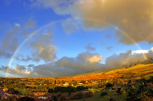 Rainbow over beautiful landscape