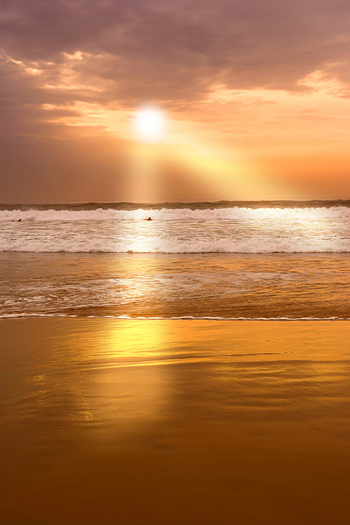 Calm sunset at the beach of Agadir
