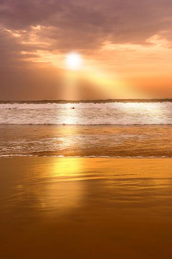 Calm sunset at the beach of Agadir