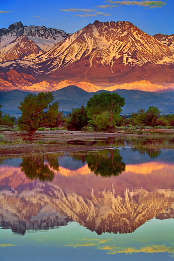 Sierra mountains reflected in calm pool