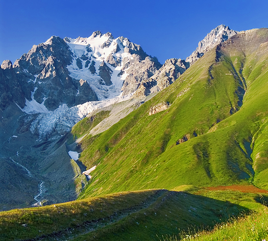 Caucasus landscape-41, Mountains and grassy hillside