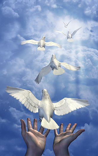 Releasing the Doves - combination of 3d renders, digital photos and digital painting.