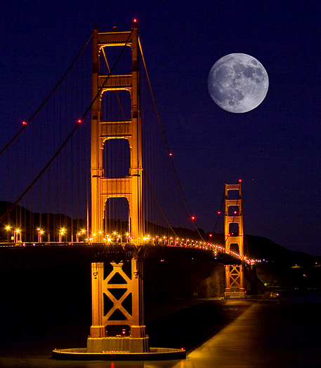 Full moon aver Golden Gate Bridge