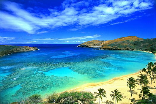 Hanauma Bay on the island of Oahu, Hawaii