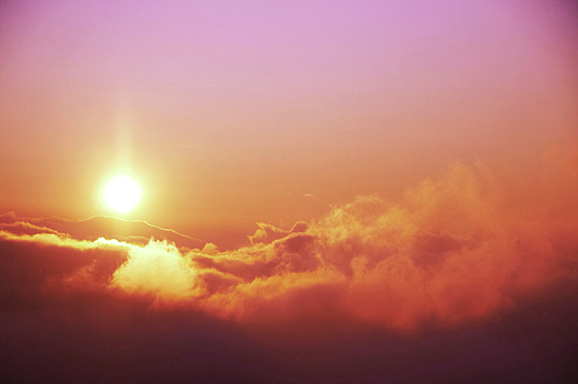 Purple-red sunset, clouds