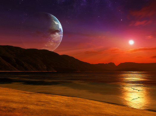 As you see the sun setting on a distant planet an alien moon is rising above the horizon