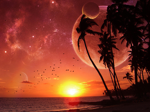 Two alien moons are setting while you stand on the beach watch the sun go down in a red sky