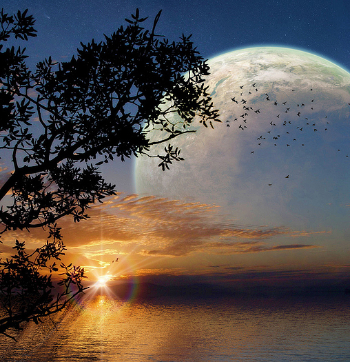 While the sun goes down, you can see an alien moon rising
