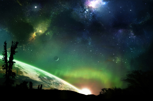 A fantasy view of the Aurora Borealis