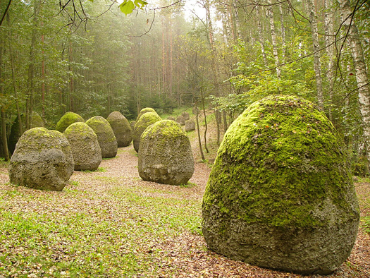 Large old mossy stones in the misty woods