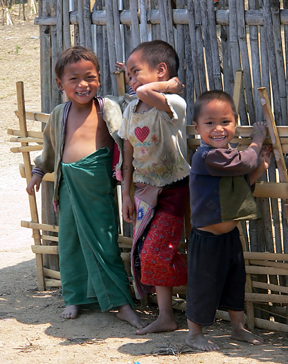Three Happy Kids. Golden Triangle. Hilltribe. Asia.