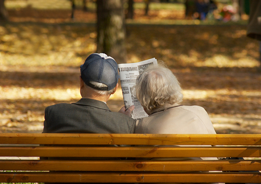 Relaxation of the aged couple in the garden