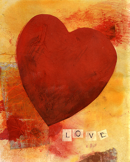 Textural Red Heart in orange and yellow background. Mixed media collage.