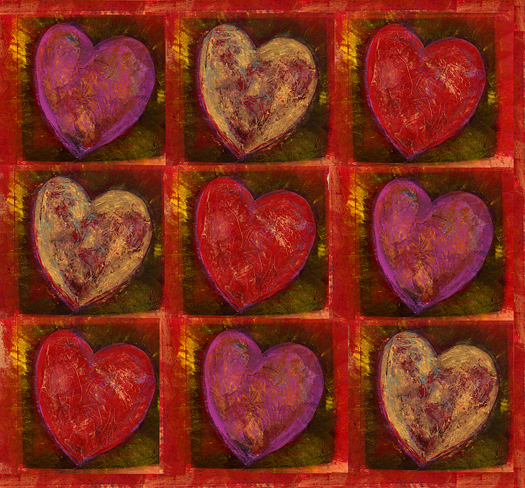 Mixed medium Heart pattern painting
