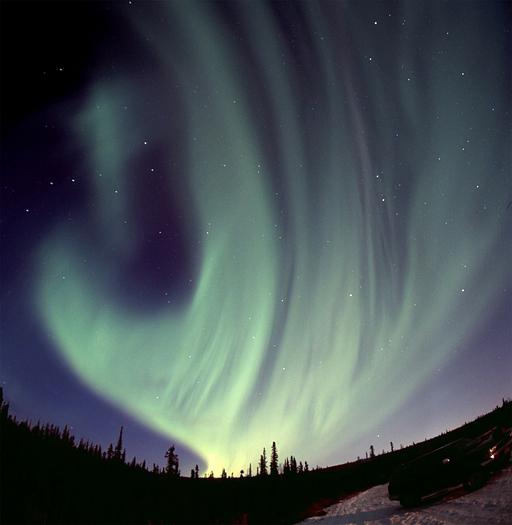 One of the powerful aurora borealis displays near Fairbanks, AK, November 2005 120 format slide scan (Provia 400F).