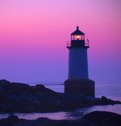 Winter lighthouse at sunrise in Salem, Massachusetts