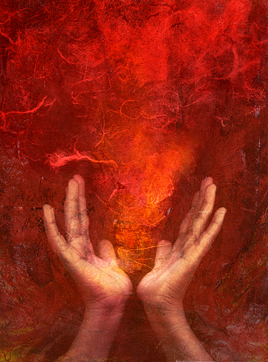 Photo based mixed medium images of hands with red