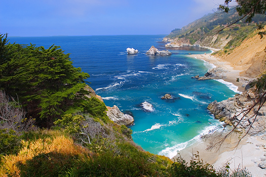 Beautiful afternoon on the beach Big Sur California