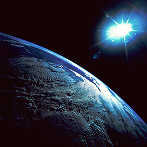 Earth from space with bright star