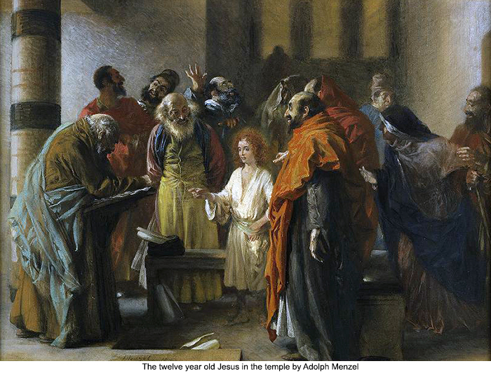 The twelve year old Jesus in the temple by Adolph Menzel