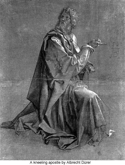 A kneeling apostle by Albrecht Dürer